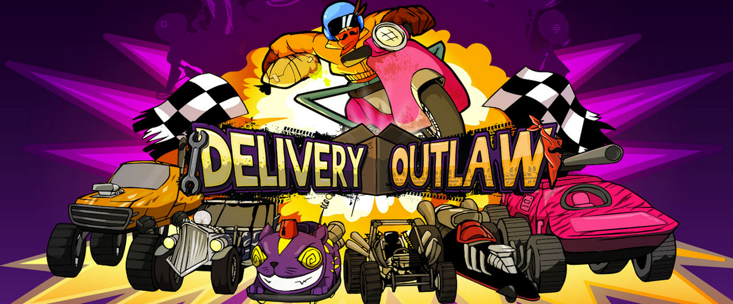 Delivery Outlaw  (2014) is a side-scrolling racing/physics for iOS and Android, developed by  Mediatonic  and published by  Adult Swim , in which you try to flawlessly deliver a package against increasing odds.   https://www.youtube.com/watch?v=KFw175ouEho