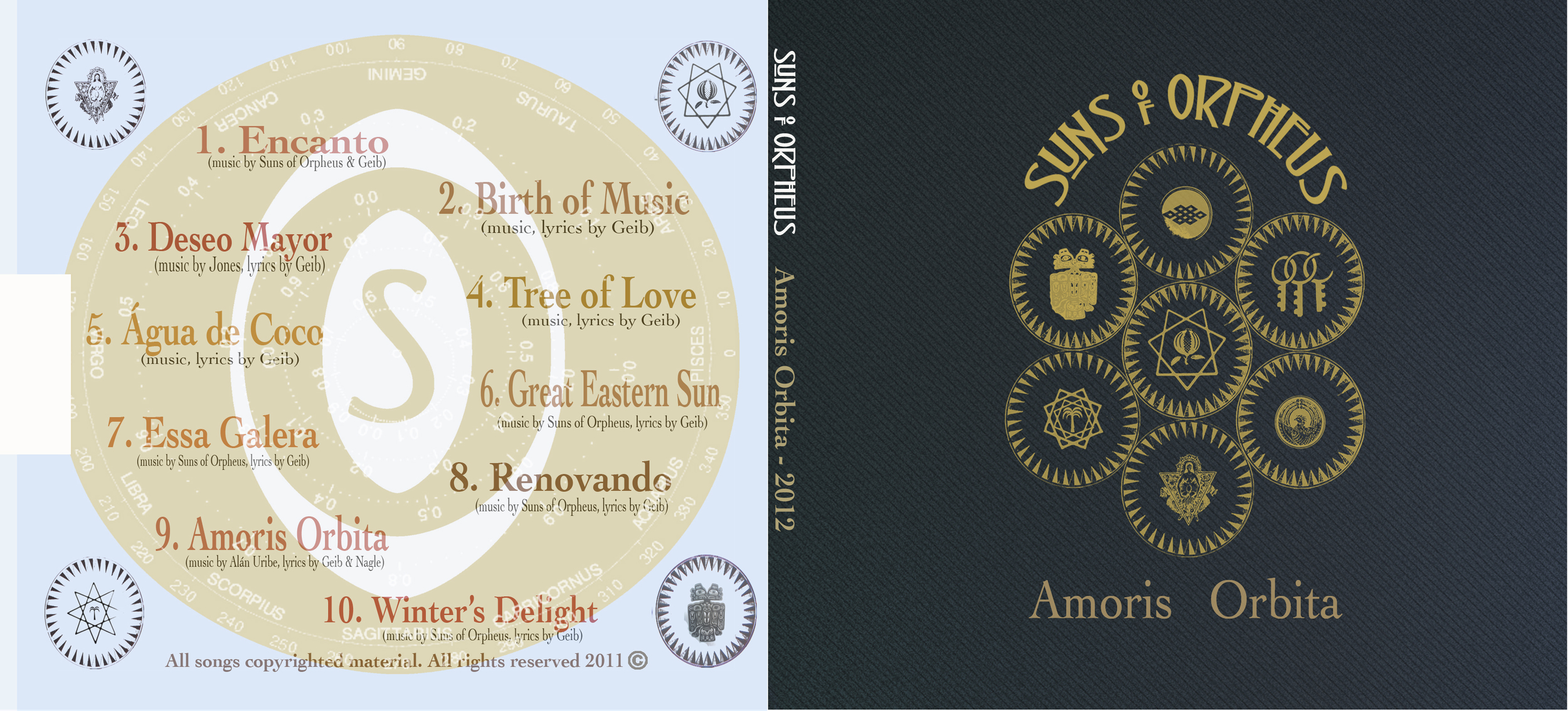 """Back and Front cover of """"  Amoris Orbita'   with   Suns of Orpheus   (2012). Musical production, artwork and design by  Frederico7."""