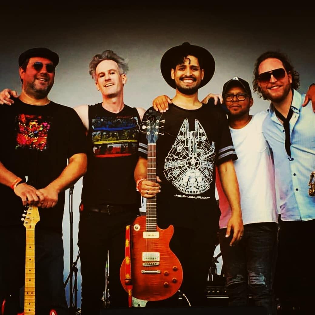 The band after playing Saturnalia fest 2018: Sergio Yazbek (Guitar); Pete Powers (Drums); Frederico7; Ciriaco Isma (Bass); Joshua Thomson (Sax)