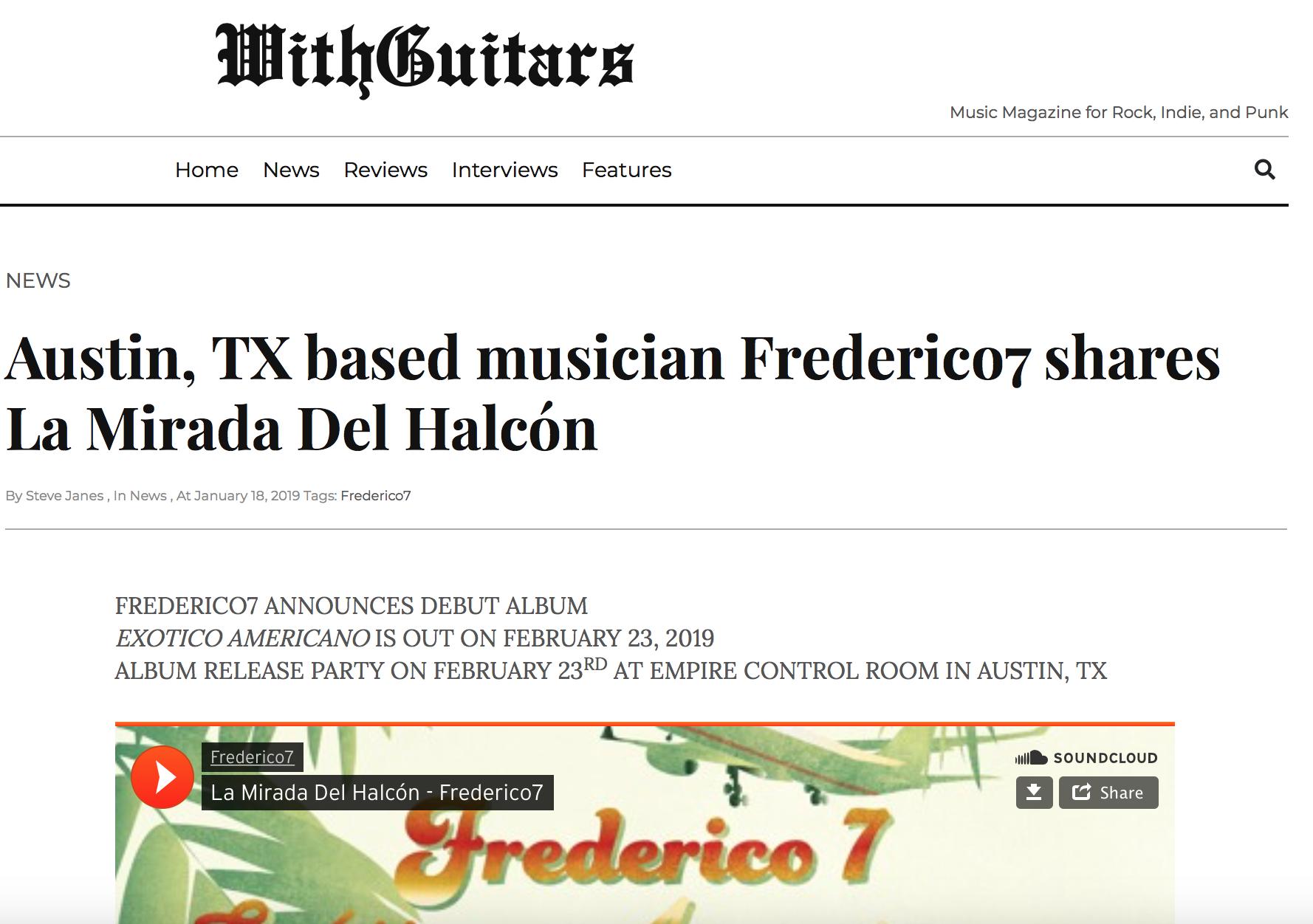 With Guitars Music Magazine features 'La Mirada del Halcón' - Great review of our song 'La Mirada del Halcón'; 'The Hawks Gaze'.