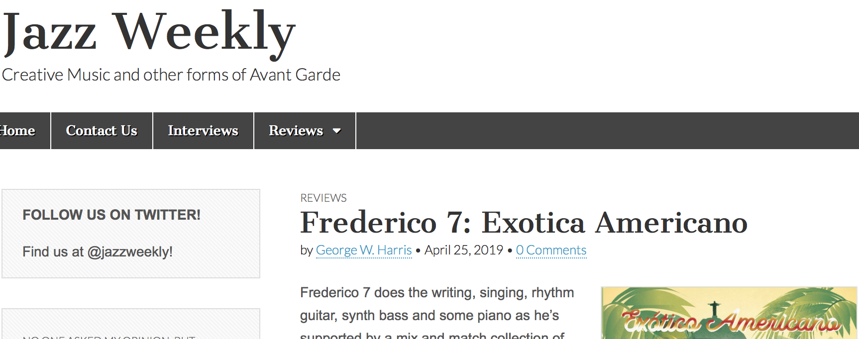 Jazz Weekly reviews Exótico Americano - Check out what Jazz Weekly had to say about us…