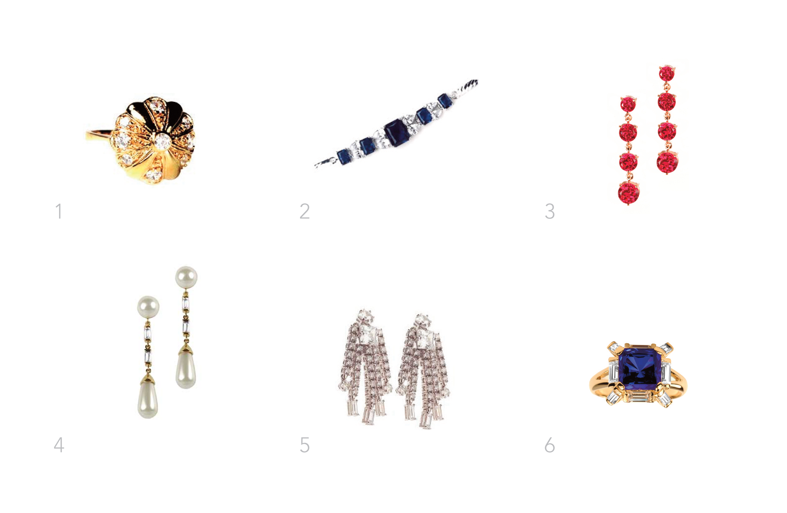 "Marilyn Monroe Collection    1.  Famous fan ring  2.  Royal Sapphires and Diamonds bracelet  3.  Ruby drops  4.  Pearl and diamond droppers  5.  ""Best Friends"" earrings  6.  Jungle sapphire ring"
