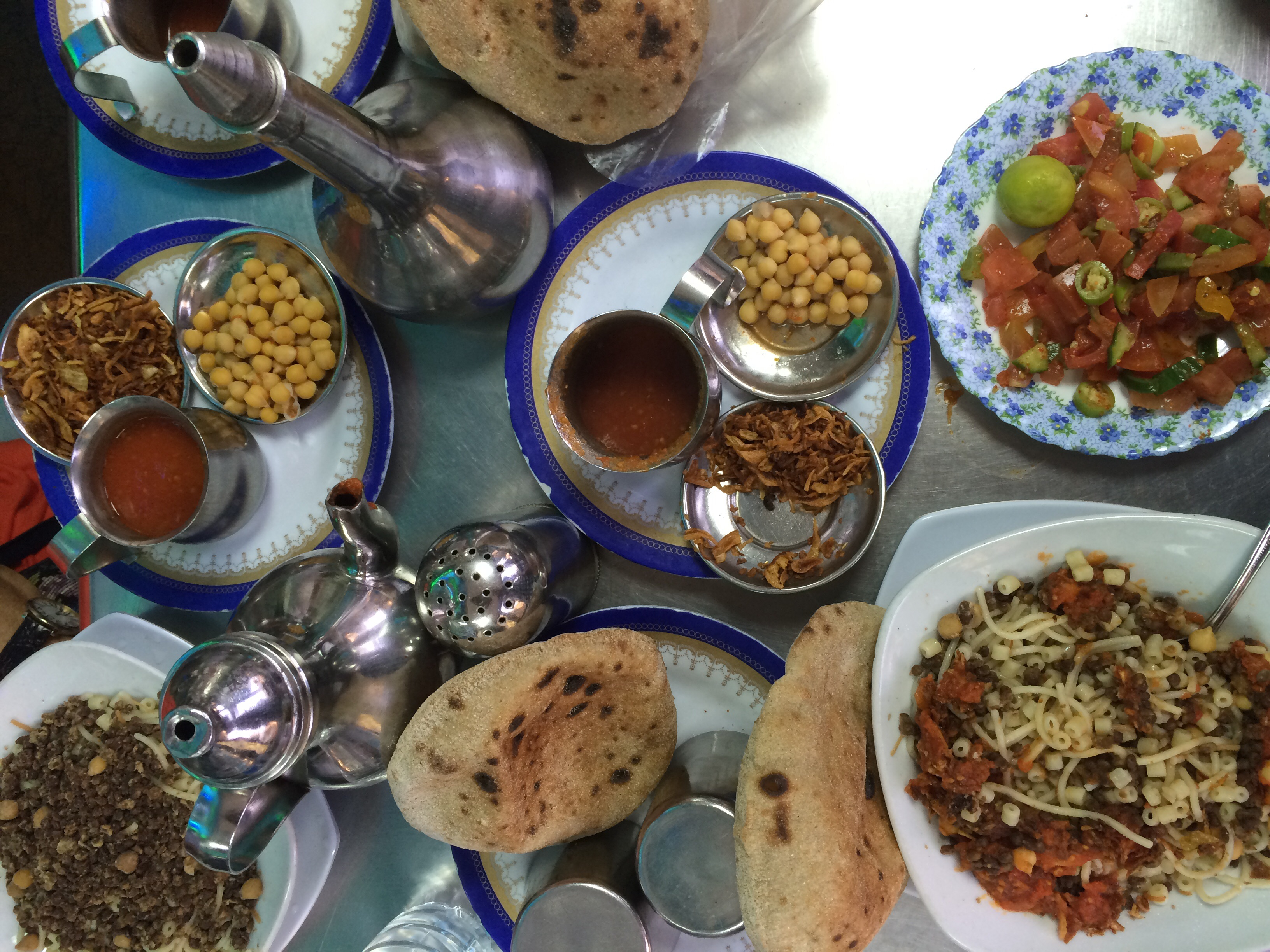 Delicious food at Koshary Abou Tarek in Cairo