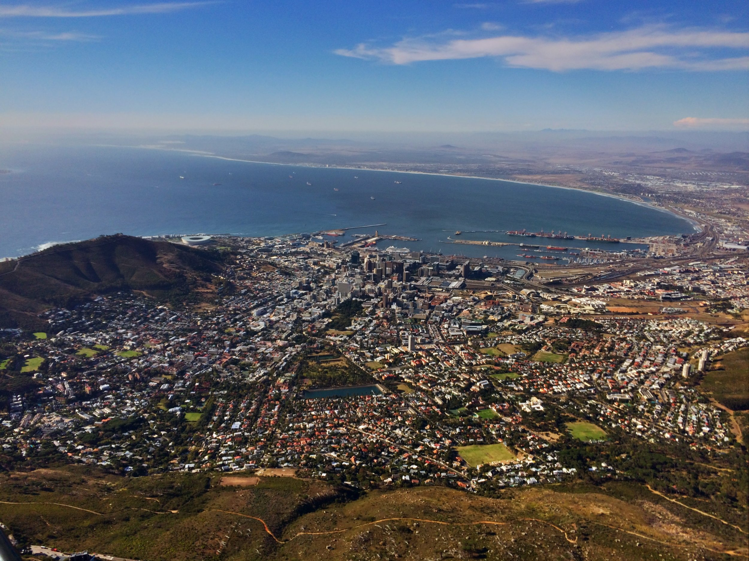 View of Cape Town from the top of Table Mountain