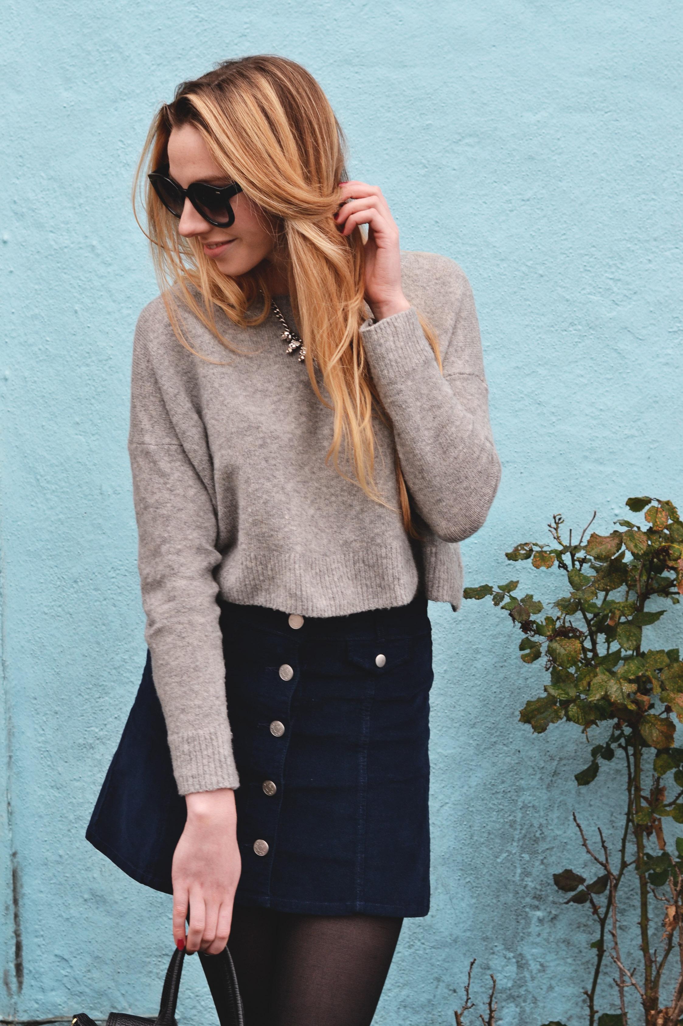 Corduroy Skirt & Cropped Sweater (via Girl x Garment)