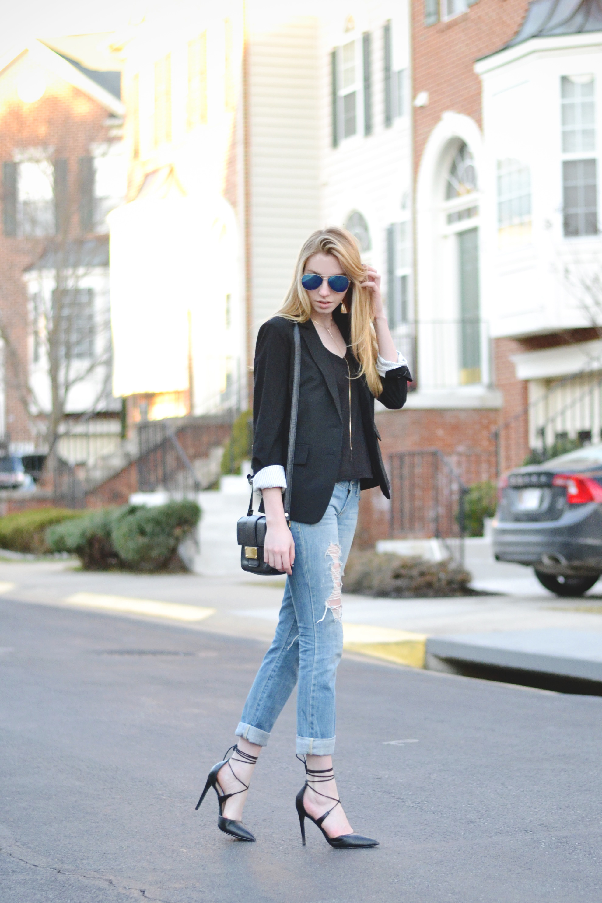 Black Blazer & Ripped Boyfriend Jeans (via Girl x Garment)