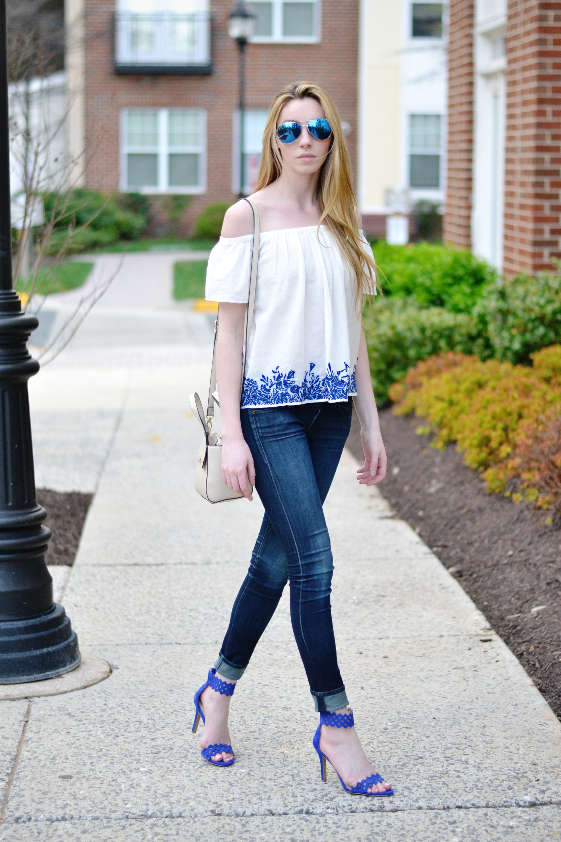 Off The Shoulder Outfit (via Chic Now)