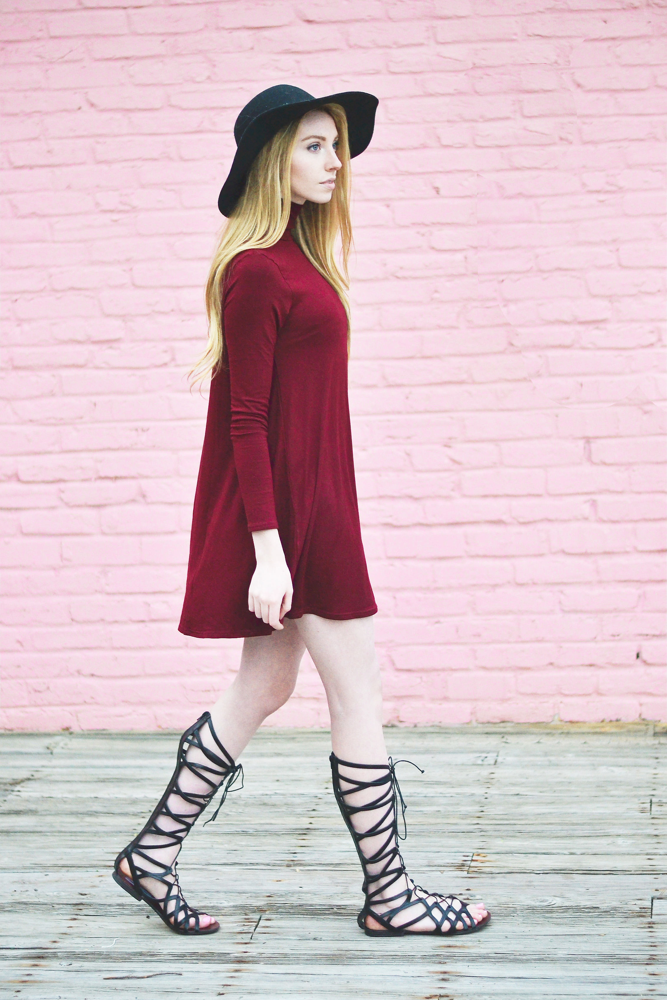Maroon Turtleneck Shift Dress (via Chic Now)