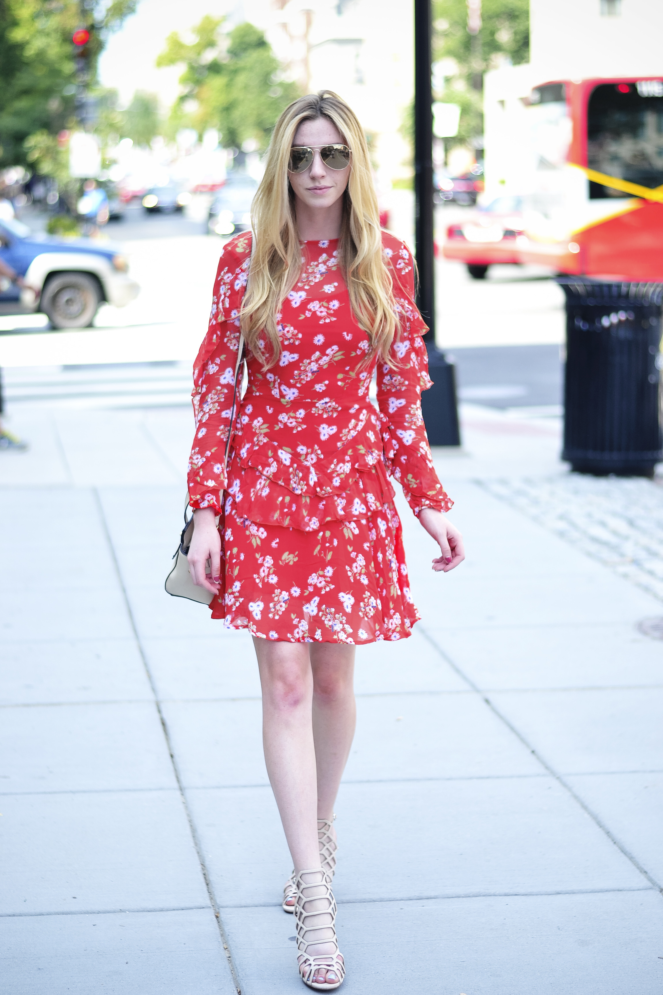 Blogger Red Floral Ruffle Dress (via Chic Now)