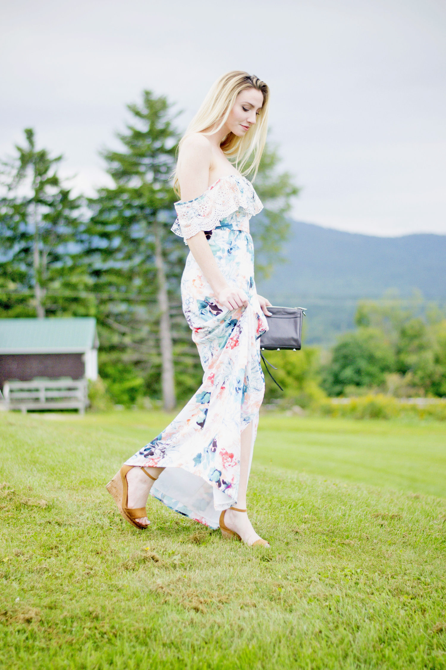 Floral Off-The-Shoulder Maxi Dress (via Chic Now)