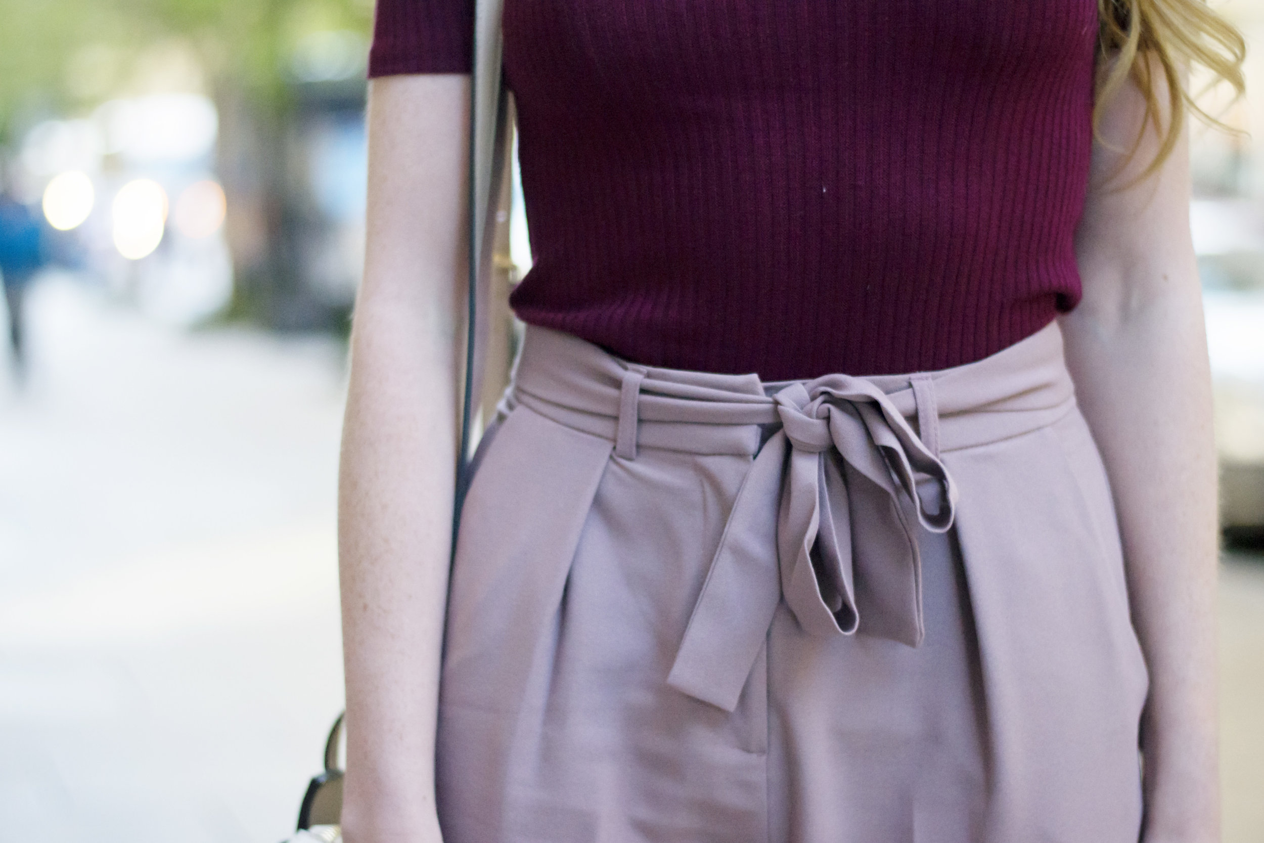 Maroon and Blush Light Pink Outfit