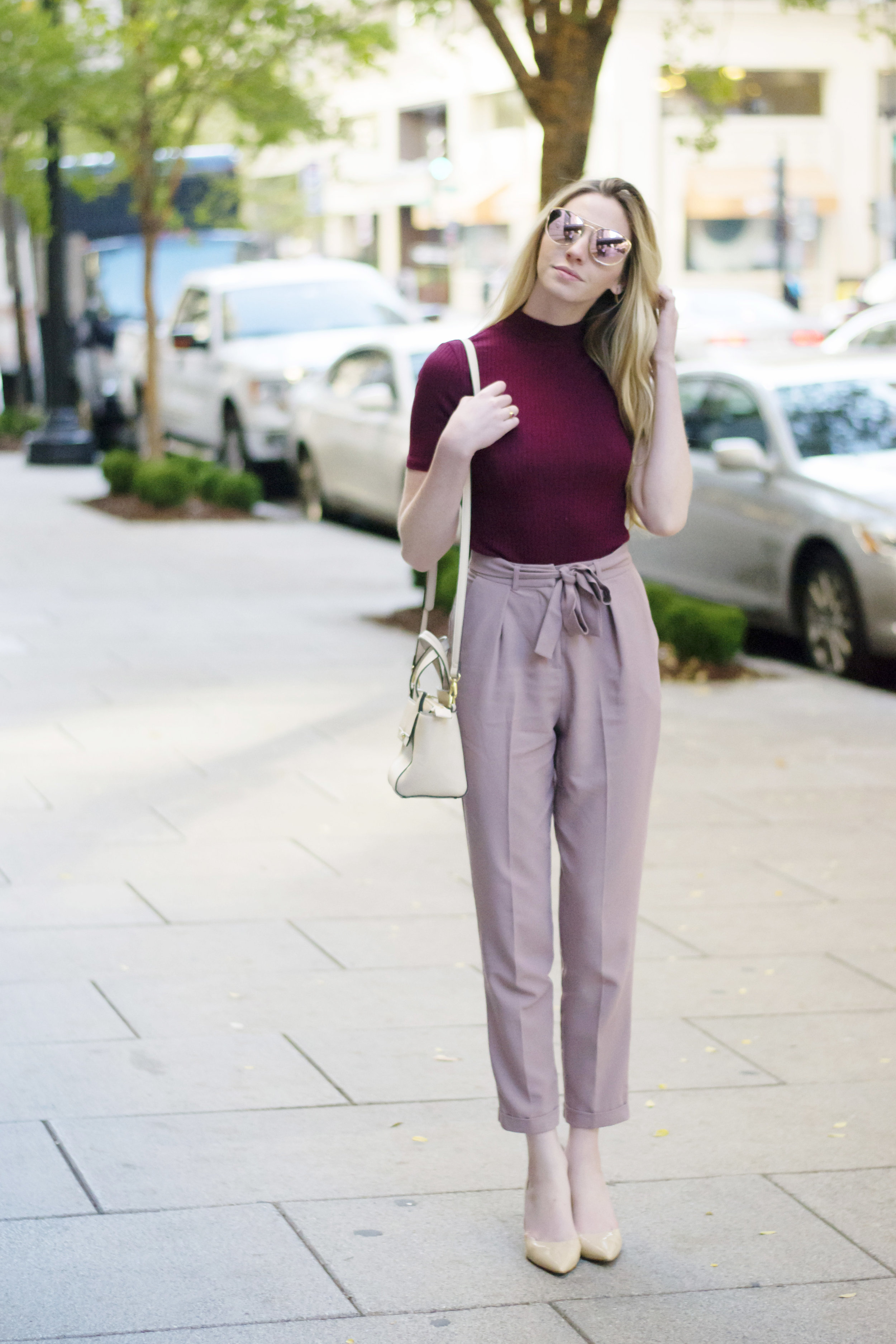 Maroon and Blush Blogger Outfit