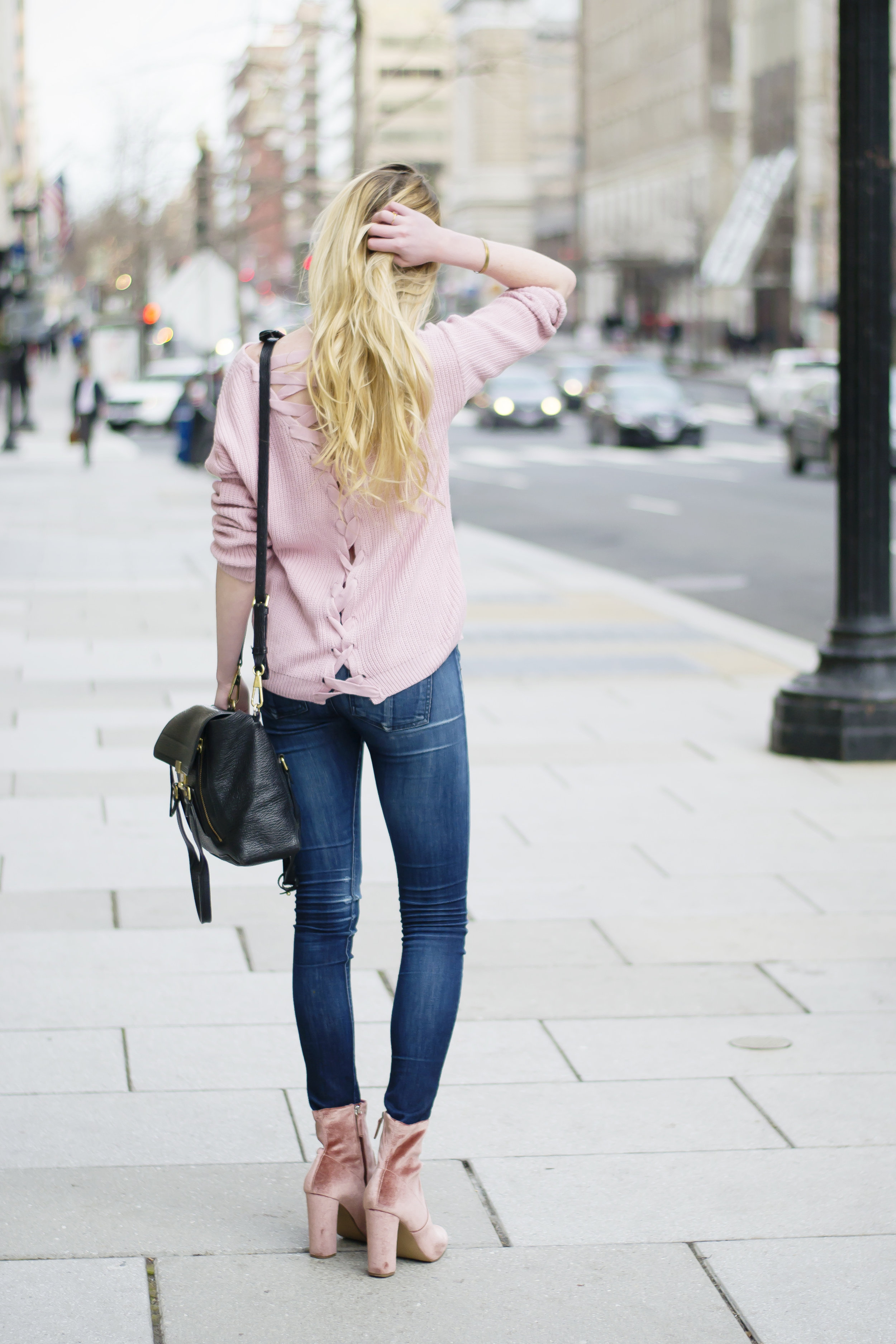Criss Cross Back Sweater Pink