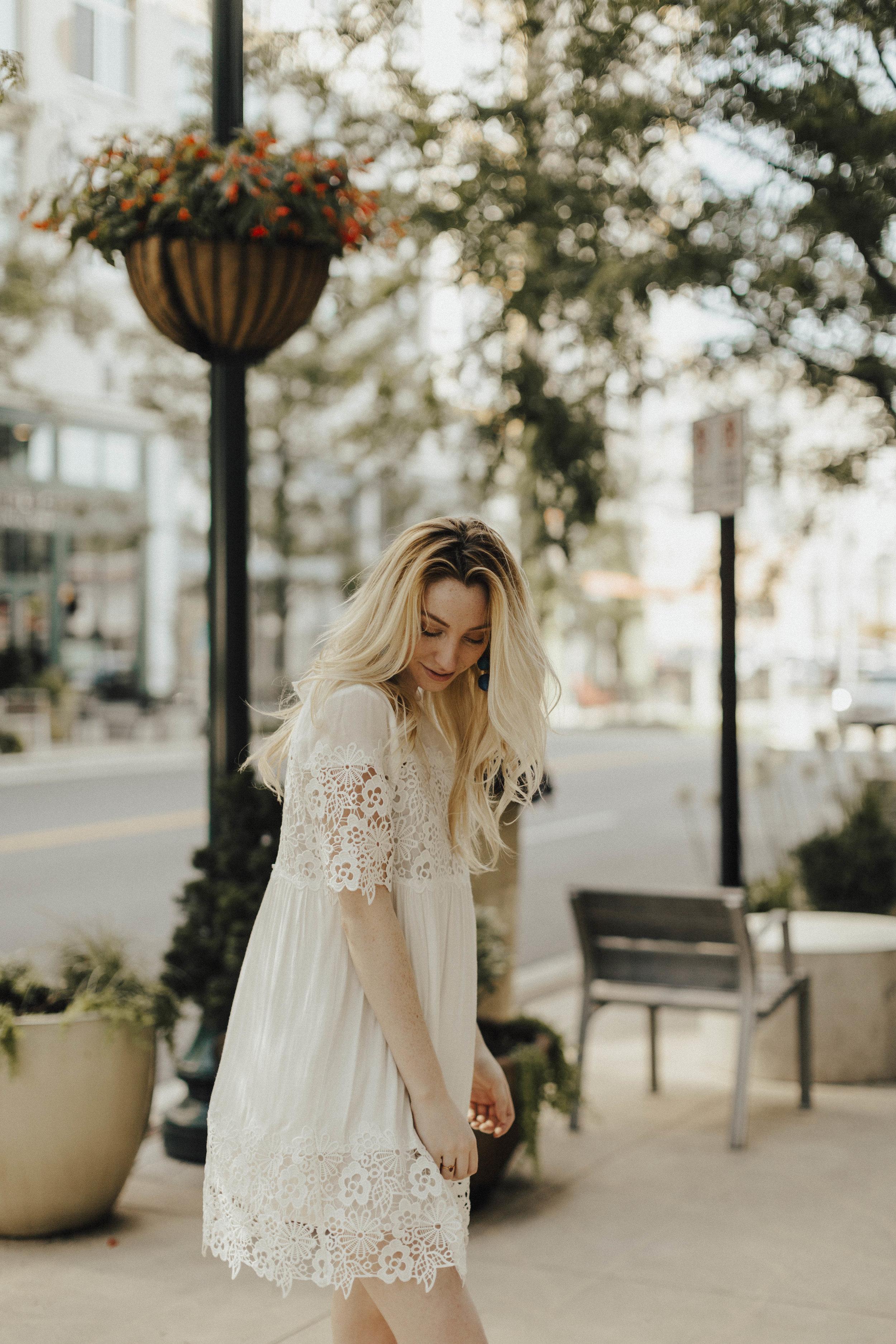 White Lace Panel Summer Dress