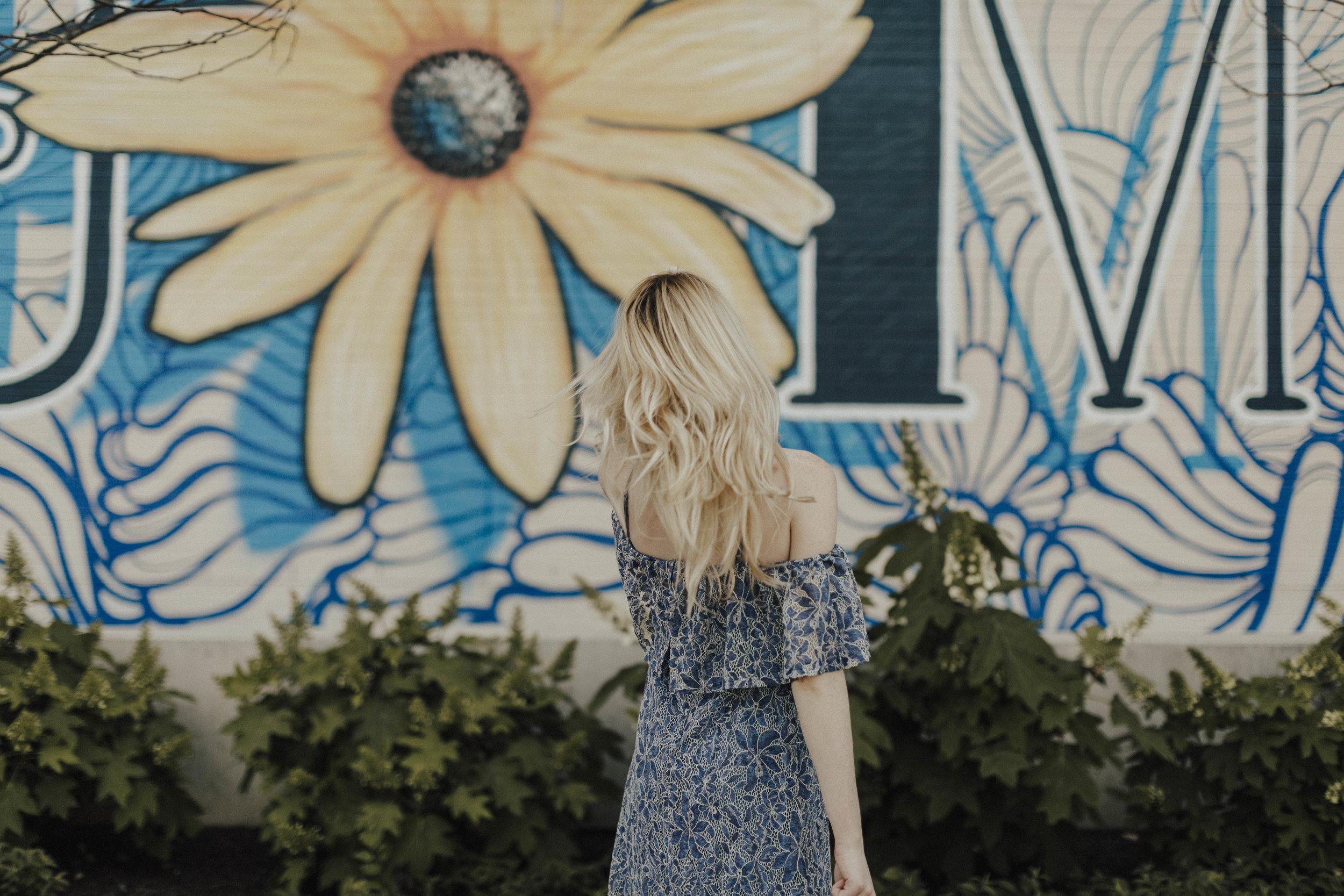 Blogger Blue Summer Off Shoulder Dress