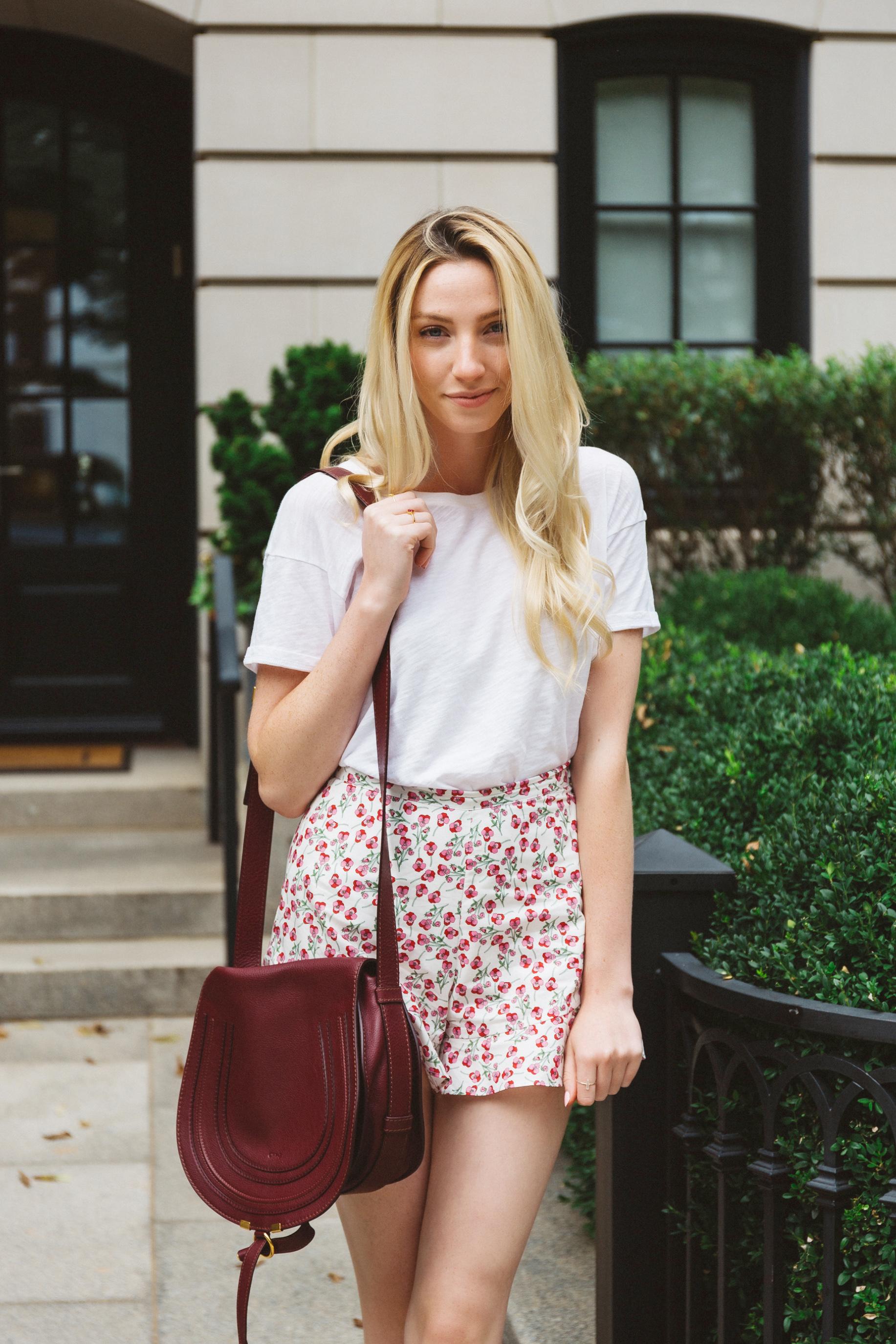 Floral Shorts High Waist