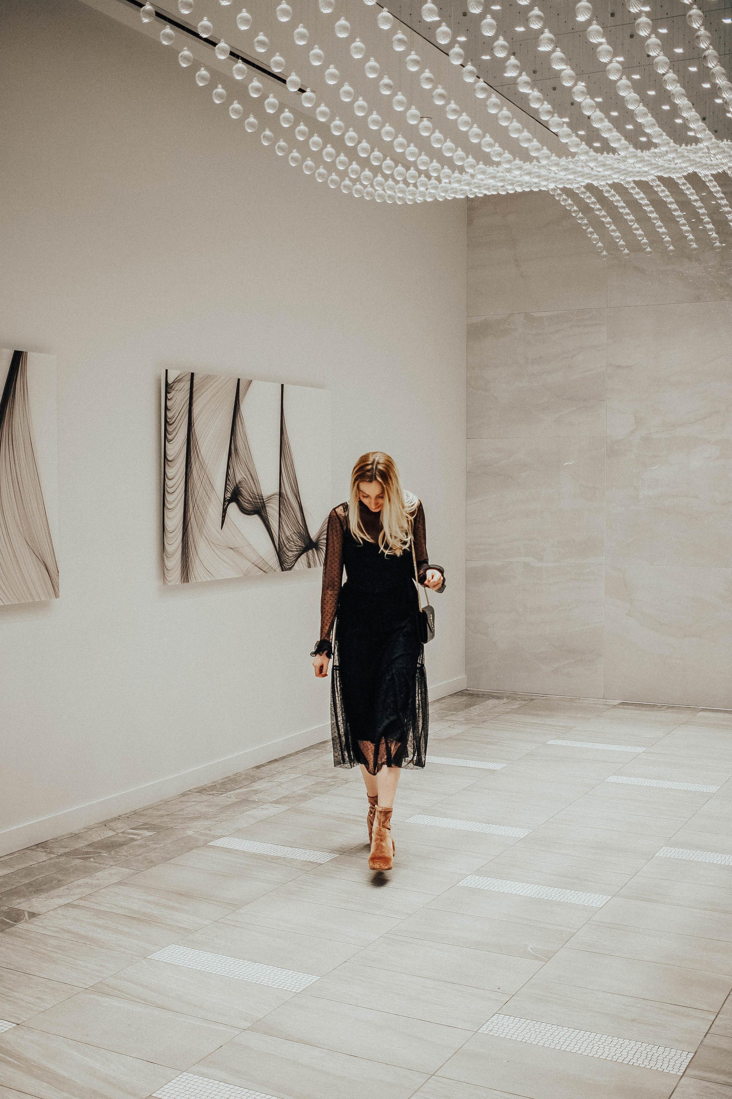 Blogger Sheer Black Midi Dress