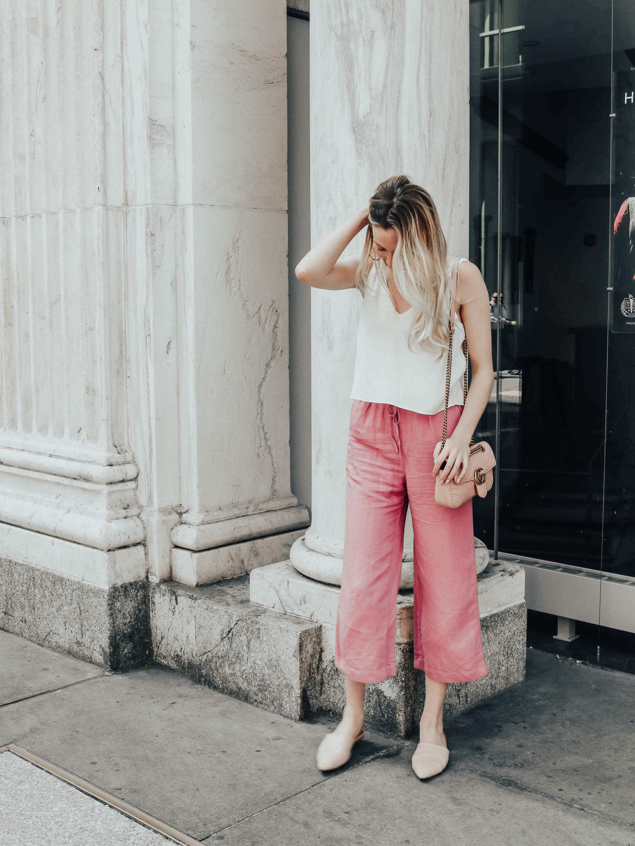Pink Pants Outfit | @maevestier