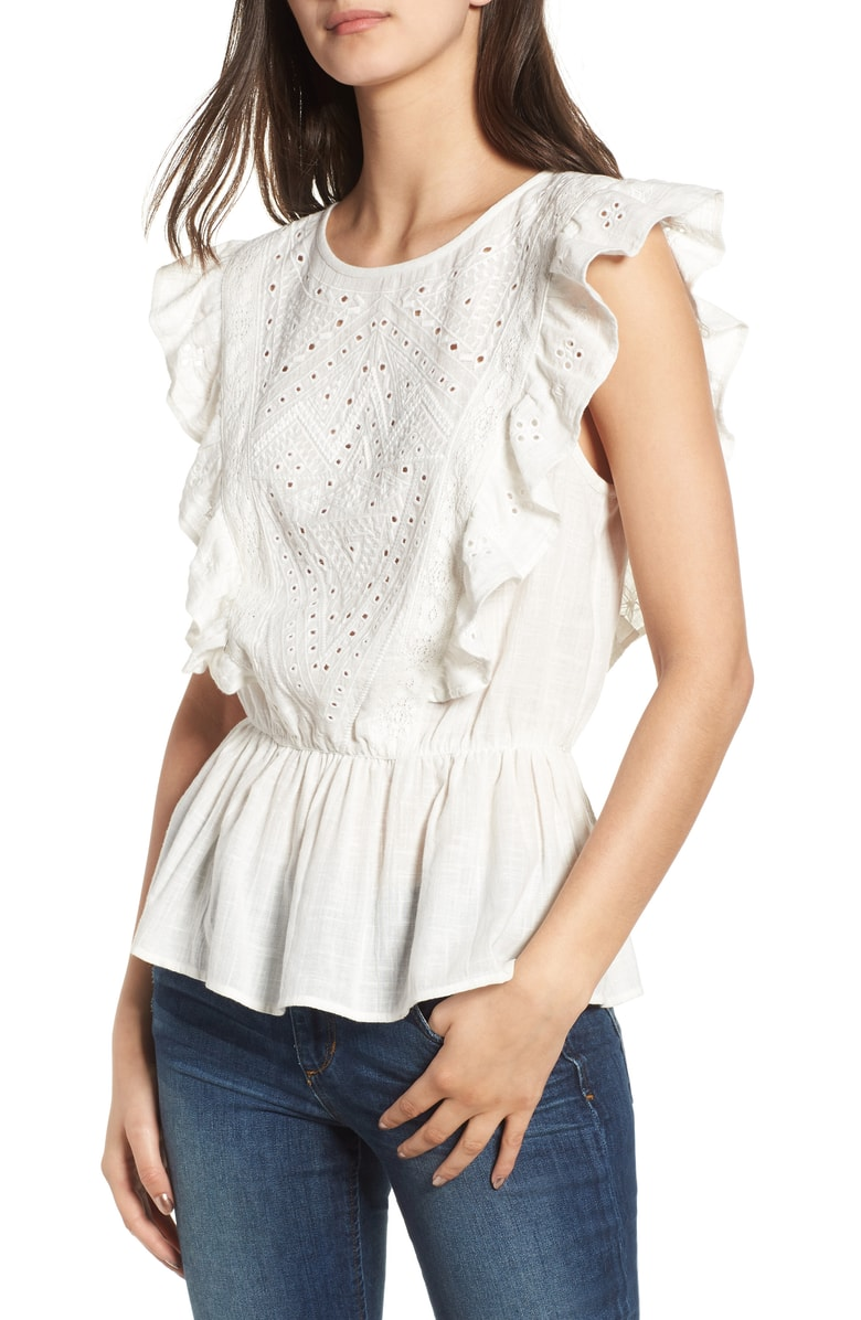 Ruffle Sleeve - A little ruffle never hurt nobody. How cute are these eyelet details?
