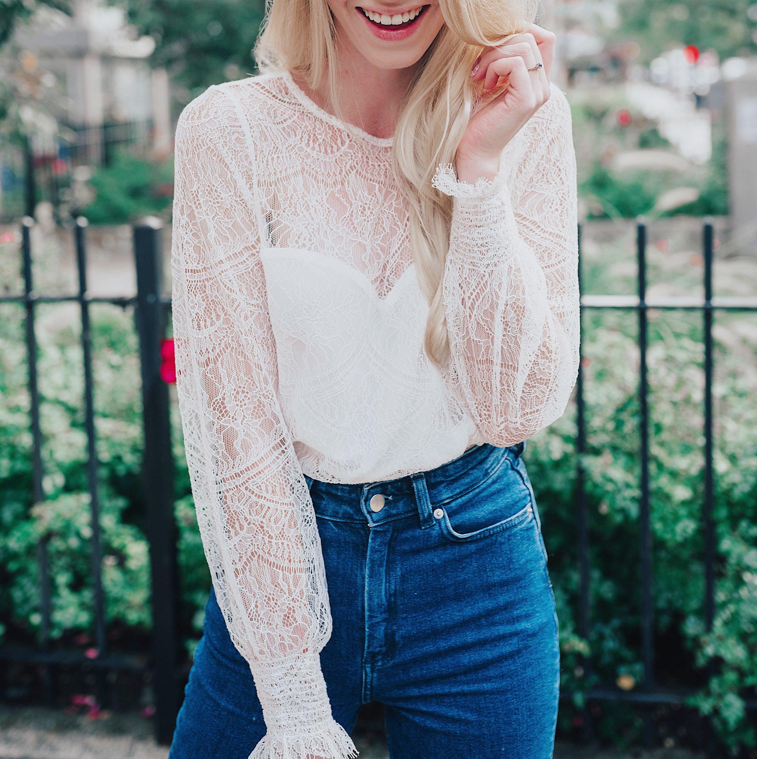 Blogger White Jenevra Lace Top (@maevestier)