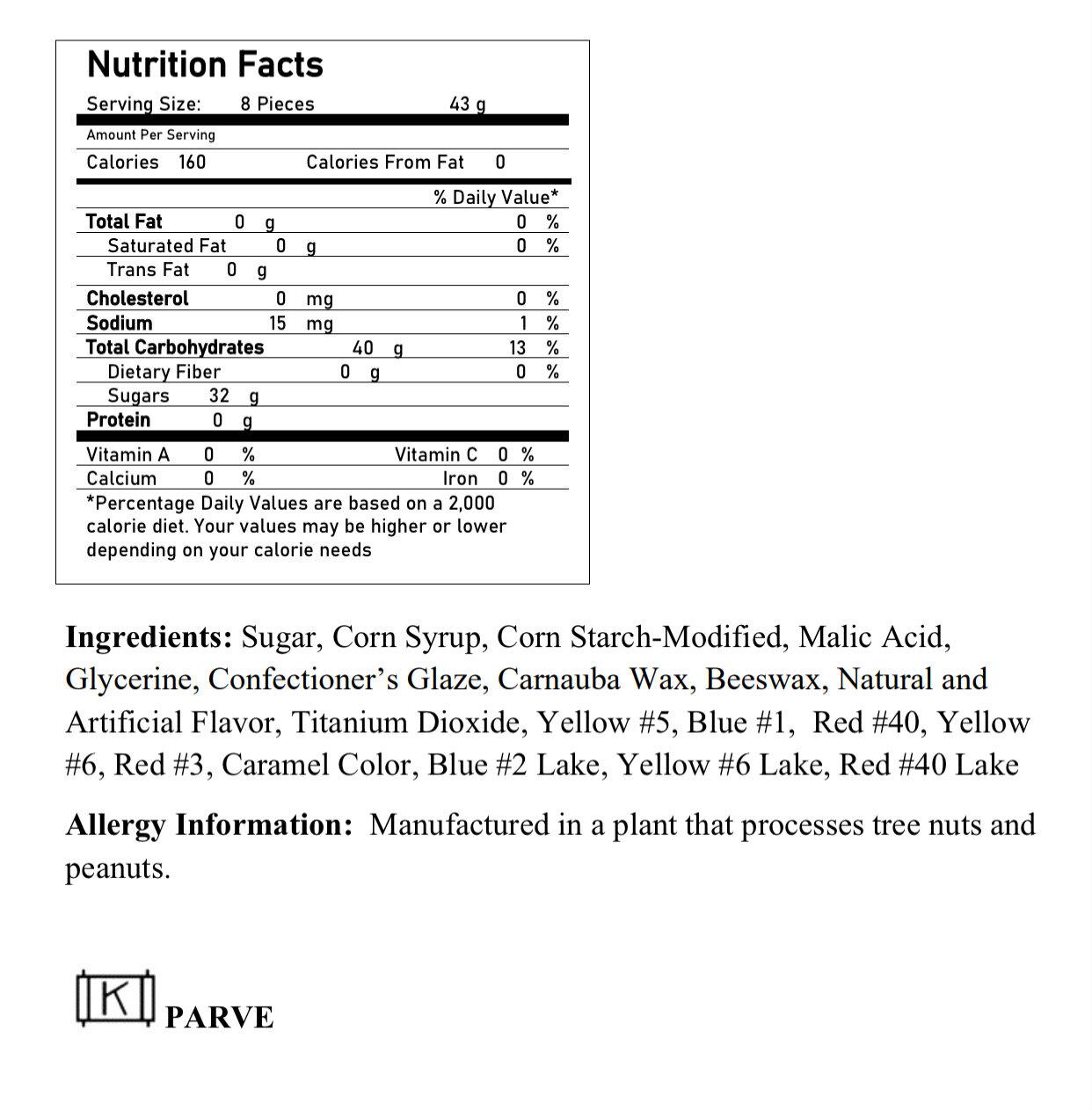 Jellystones ingredients