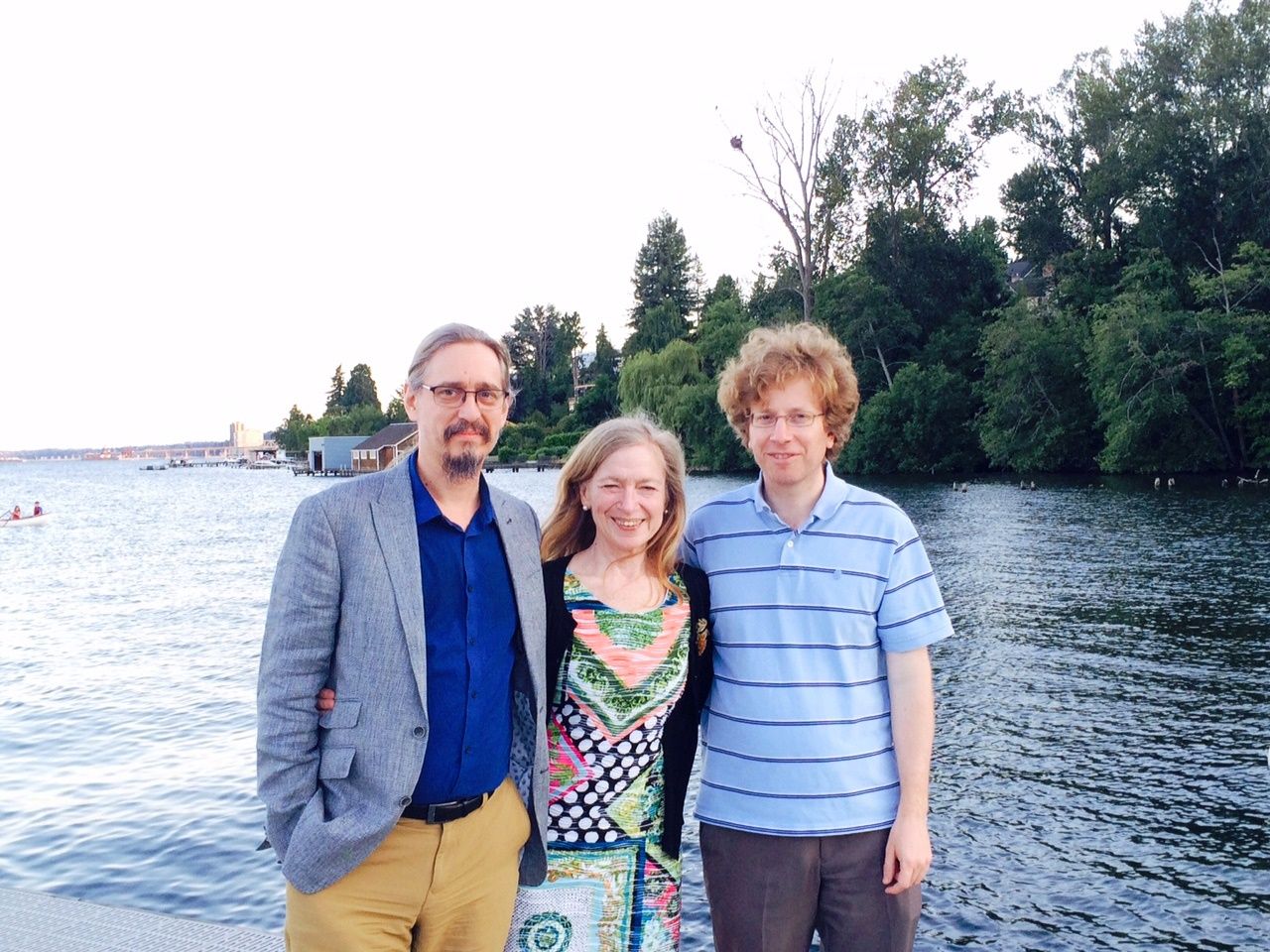 Aaron King, Betz Halloran, Ed Ionides, at Lake Washington. Bald eagle nest in the background.
