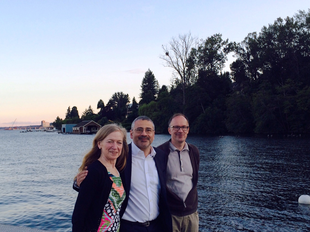 Betz Halloran, Alex Vespignani, Kari Auranen, at Lake Washington. Bald eagle nest in the background.