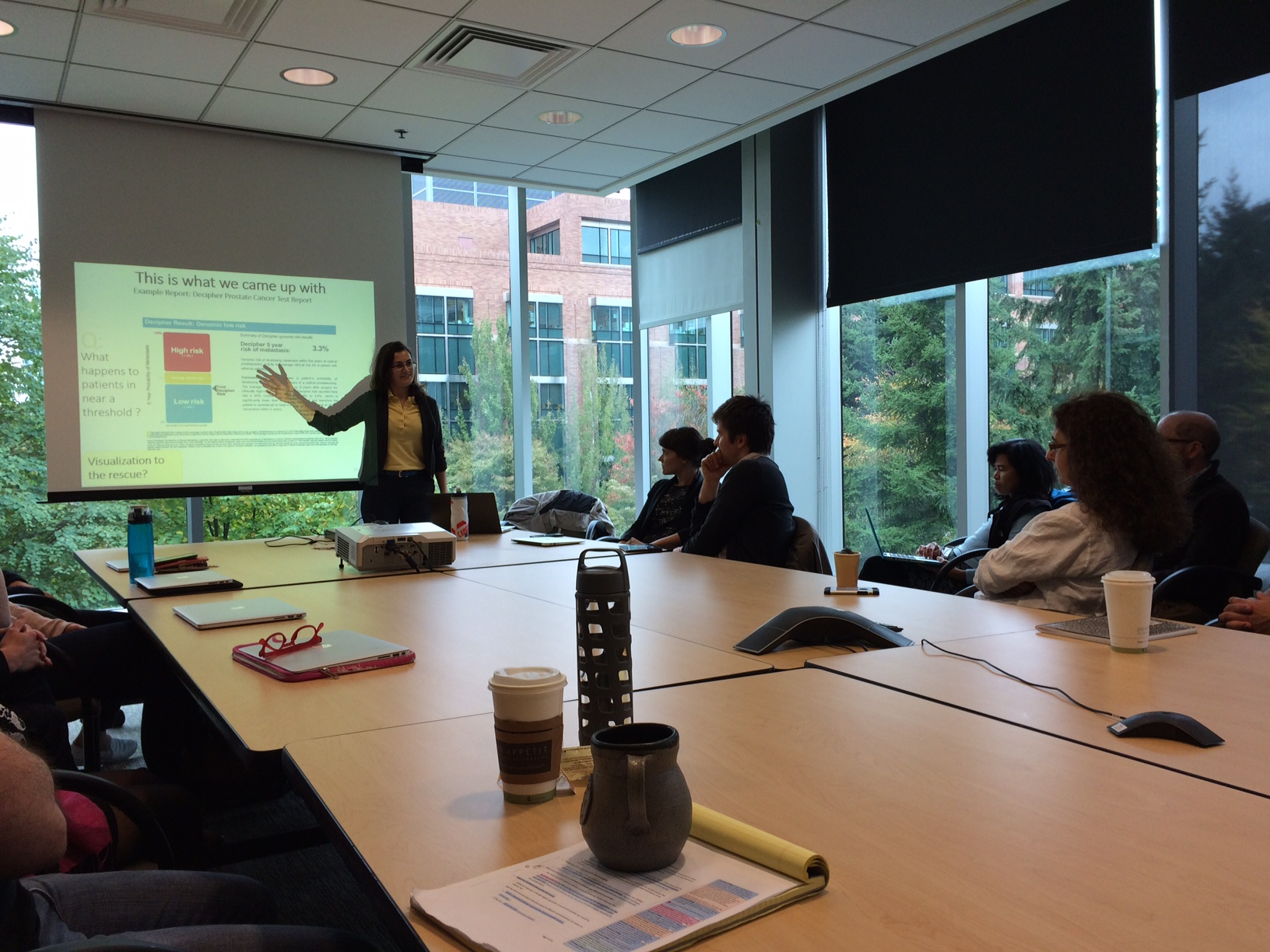 Ana Crisan (colleague of Jennifer Gardy), presenting to a smaller group at Fred Hutch, following Jennfier's presentation.