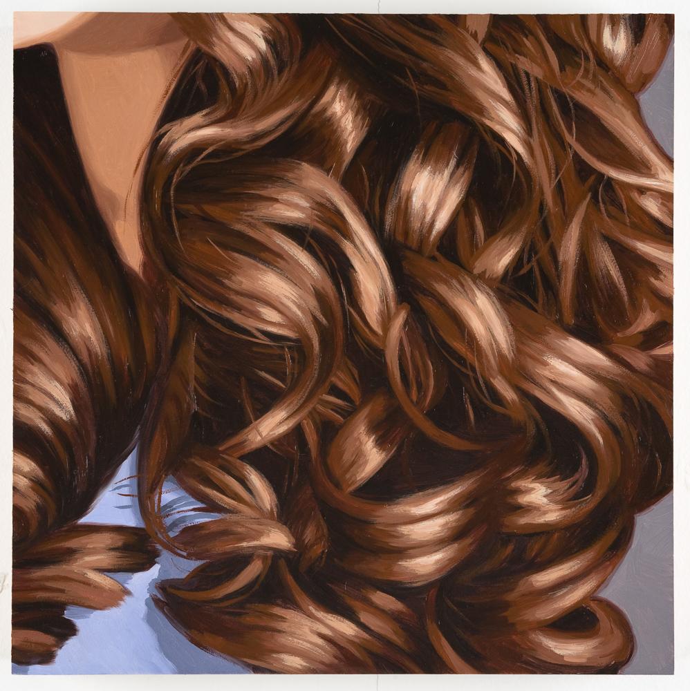 Brunette, Curls, Purple Blouse