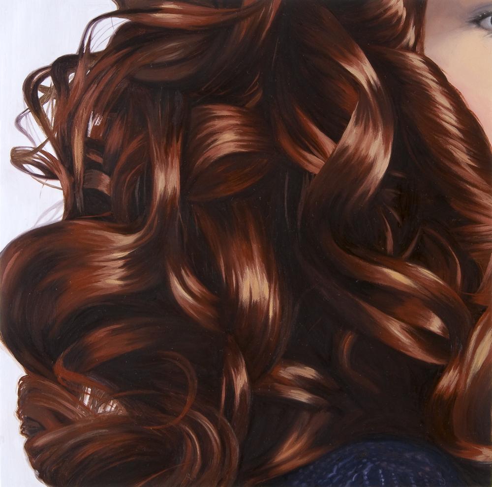 Red Brown Curls (Purple Sweater)