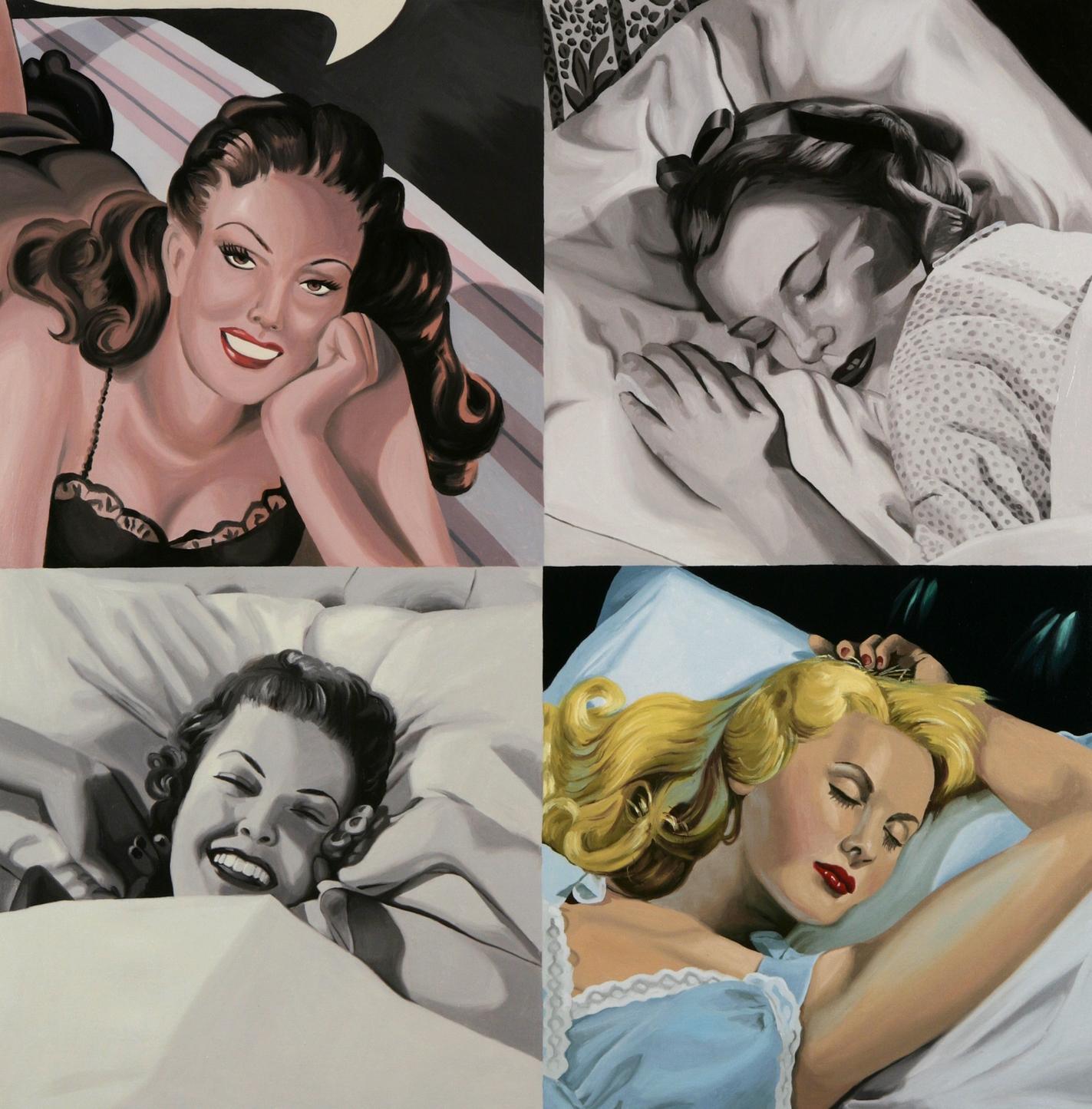 Women, In Bed (One in Blue Nightie)