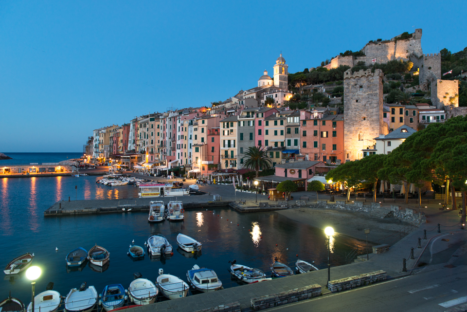 View of Porto Venere by our hostel at dusk.