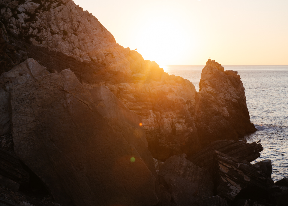 Sunset off the Italian coast of Porto Venere.