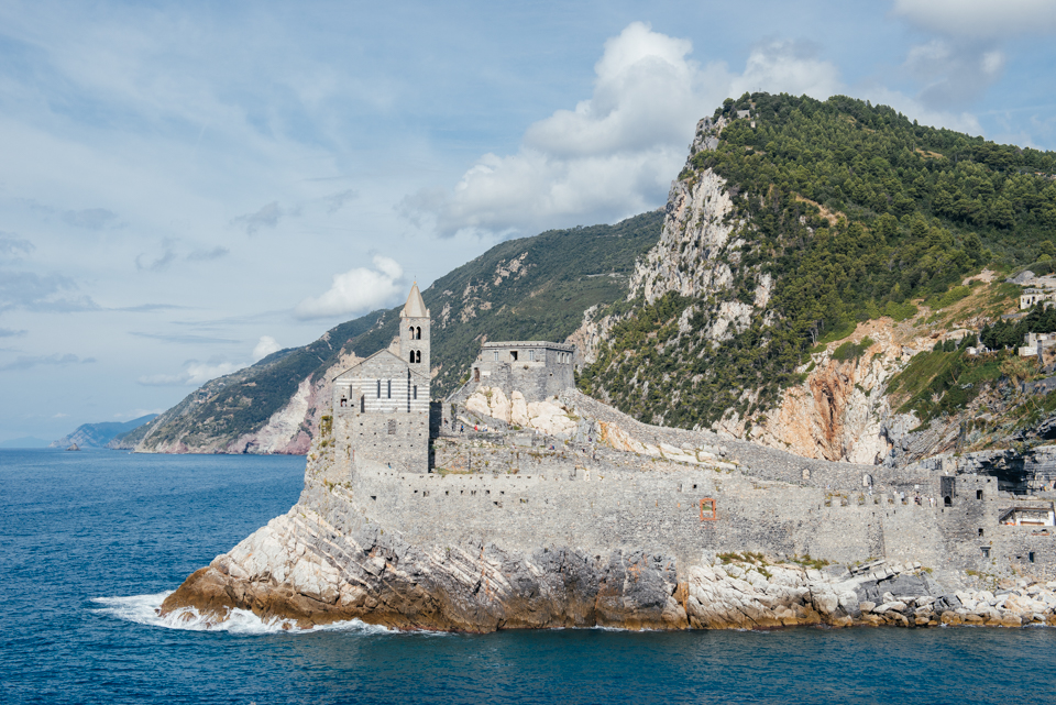 The church of St. Peter seen from the top of Palmaria Island and the Italian coastline.