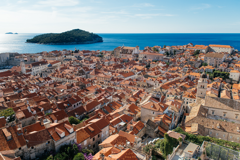 A view of Old Town Dubrovnik from the top of the wall.