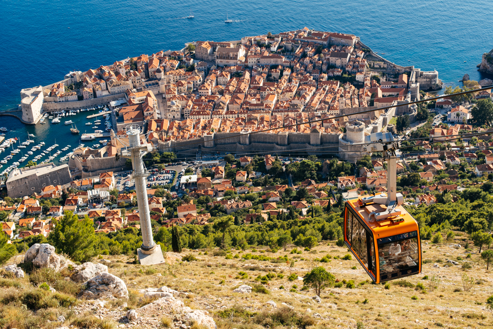 The Dubrovnik cable car carries you to the top of  Mountain Srđ with  an amazing vantage point of Old Town.