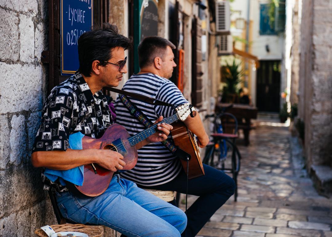 Local music rang through the streets.
