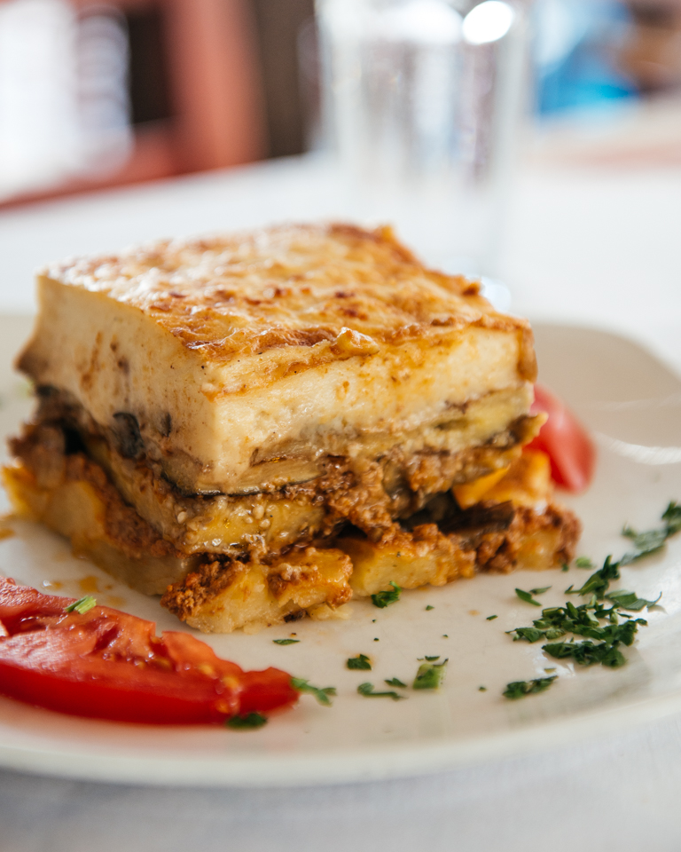 Moussaka, a greek staple made with eggplant, minced meat, and a custard top.