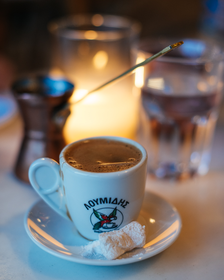 Greek coffee with a Greek delight candy.