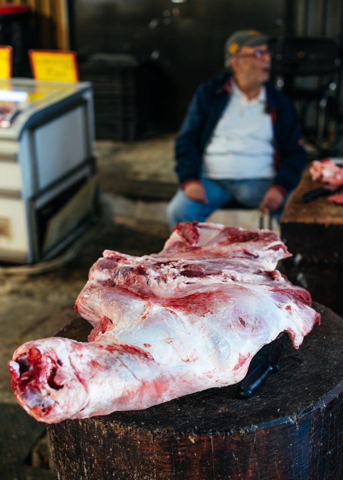 A beef shank on the chopping block.