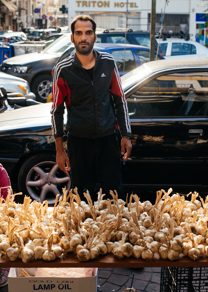 A local garlic farmer and his wares.