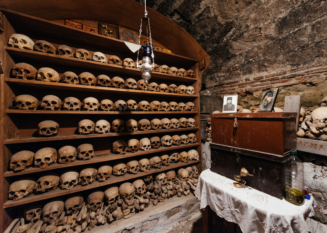 Skulls of the monks who lived in the Great Meteoron Monastery.