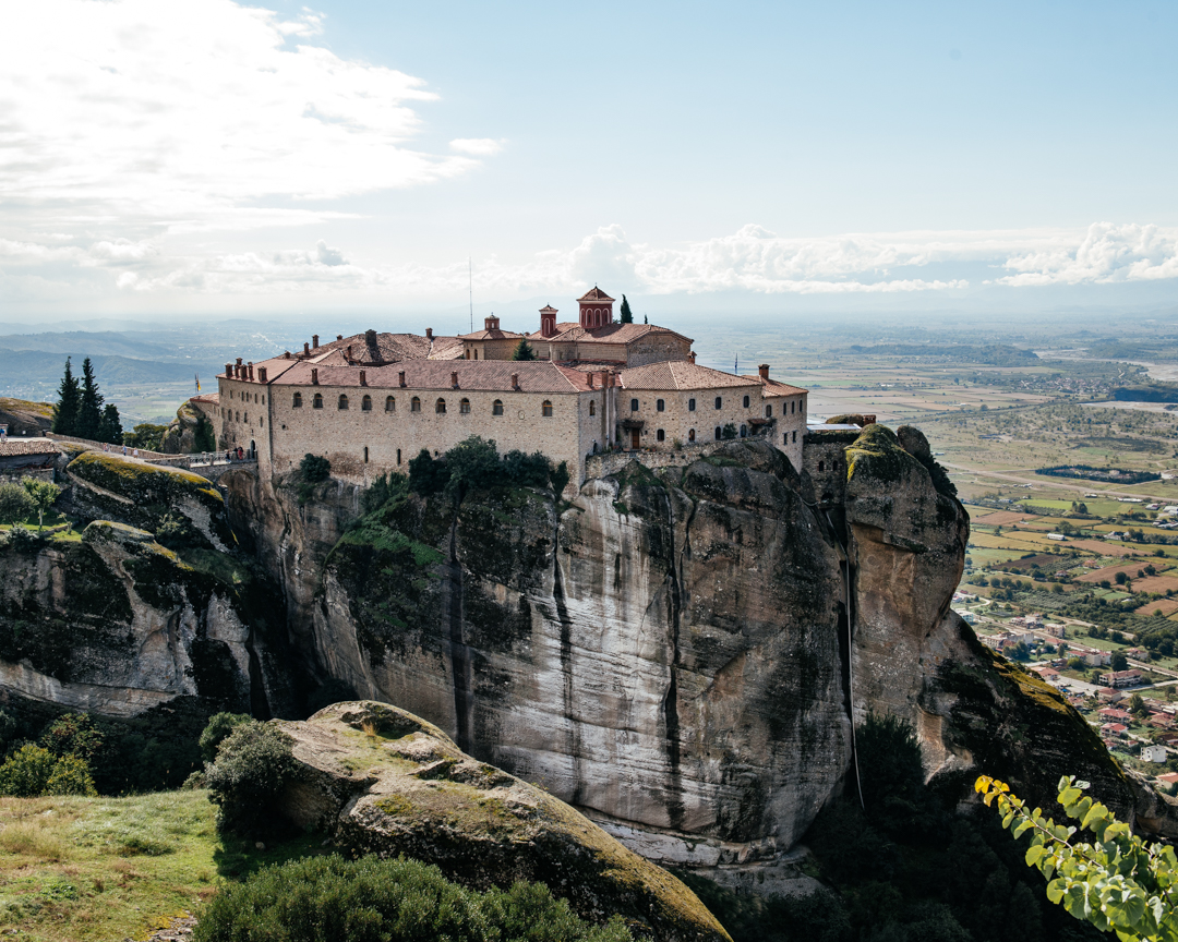 The Holy Monastery of St. Stephen perched on its cliff above the town of Kalambaka.