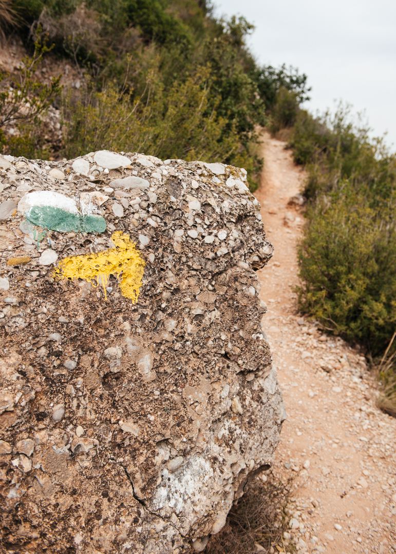 Trailhead markers leading the way to the top of Montserrat.