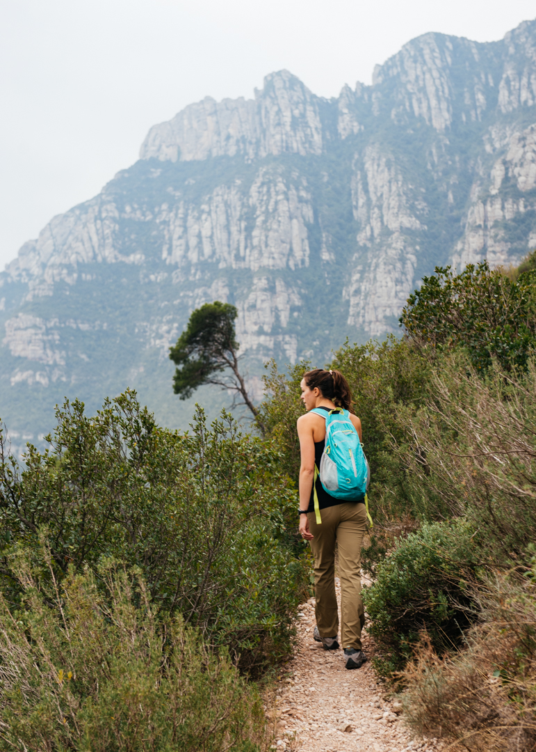 Chelsea begins her hike to the top of Montserrat.