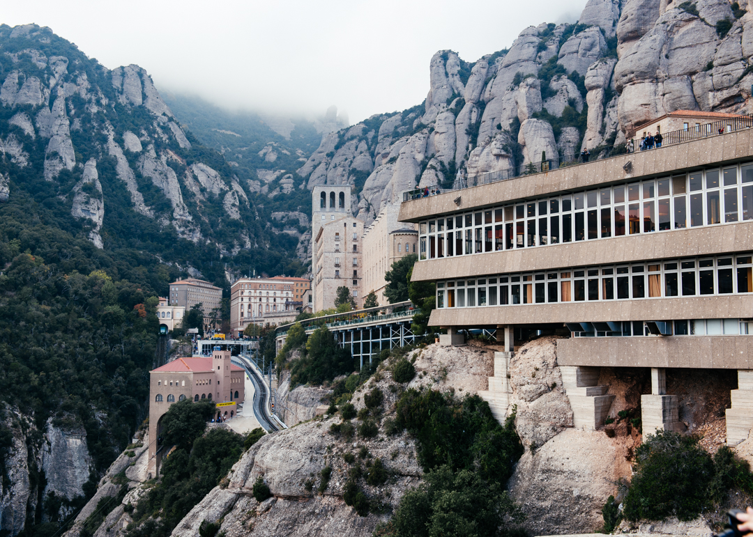 The Abbey of Monserrat built in to the mountains.