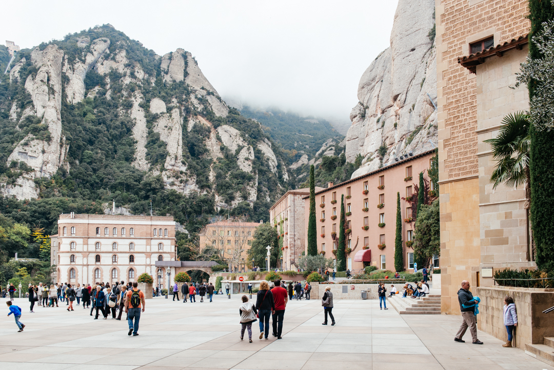 The village of Montserrat tucked into the mountains.