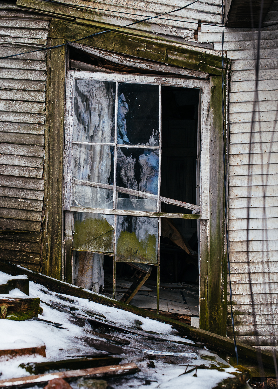 Crooked window frame.