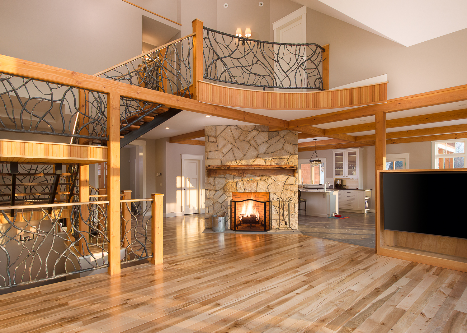 Main living area with the fireplace focal point.