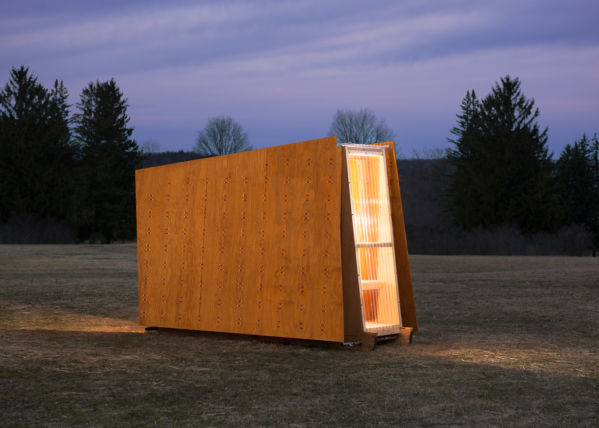 The Ice Ark at dusk. No signs of winter here on the lawn of the Shelburne Museum.